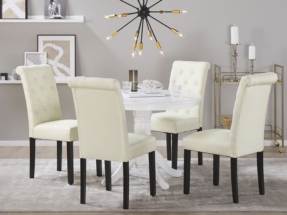 Set Of 2 Dining Chairs Cream Velva Ex, Cream Colored Dining Table And Chairs