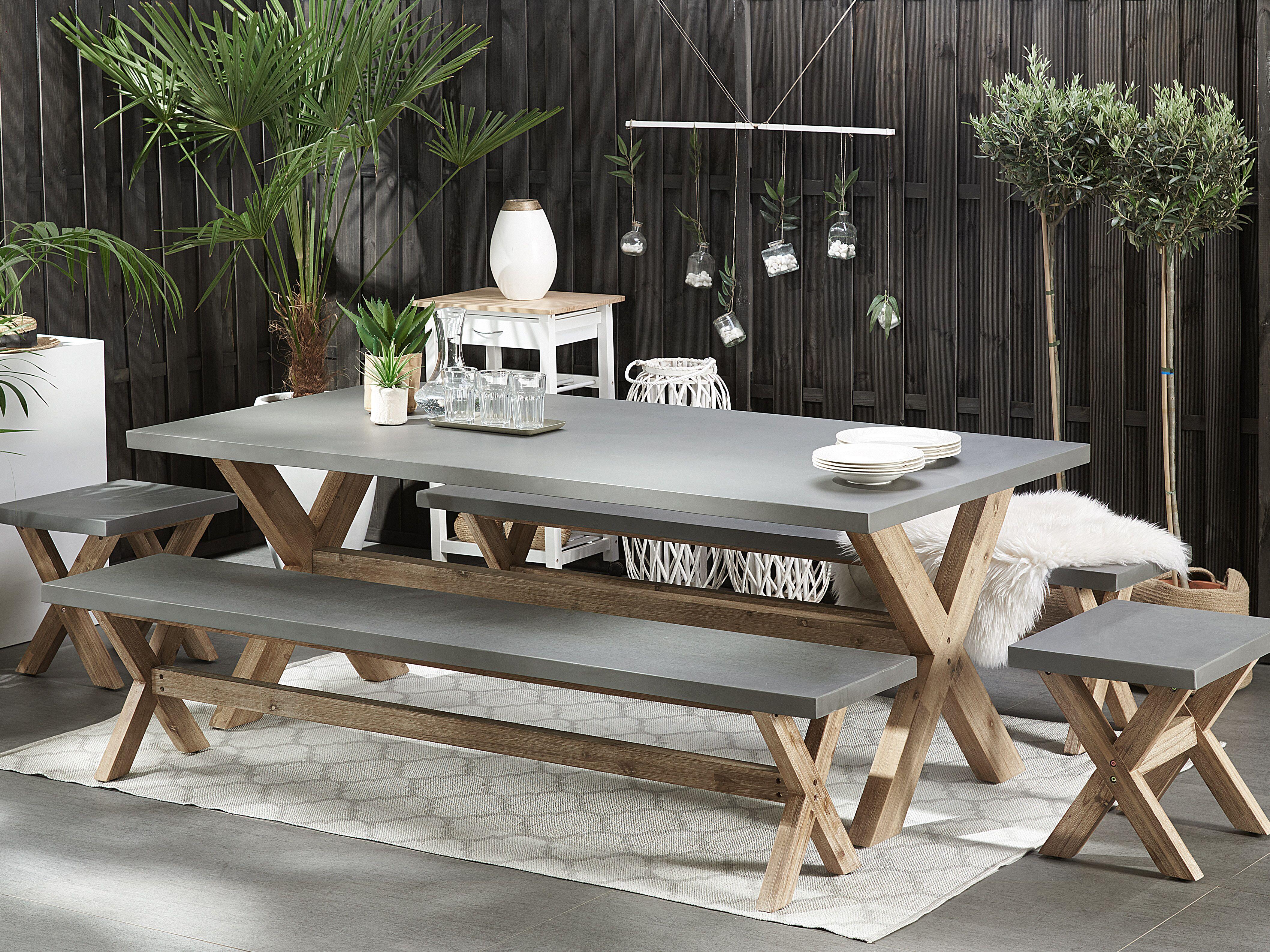 Tavolo Da Giardino Grigio In Finto Cemento 200 X 100 Cm Olbia Beliani It