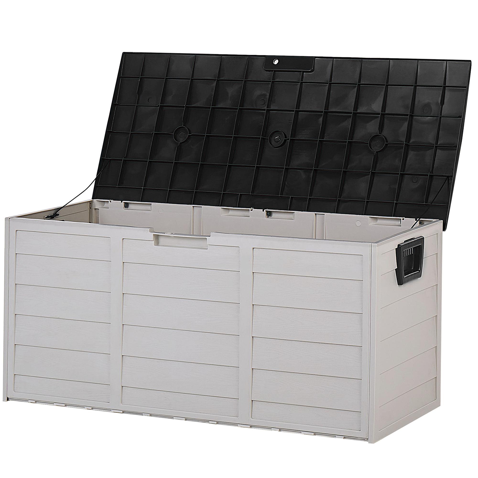 Beliani Opbergbox kunststof beige/zwart 112 x 50 cm LOCARNO