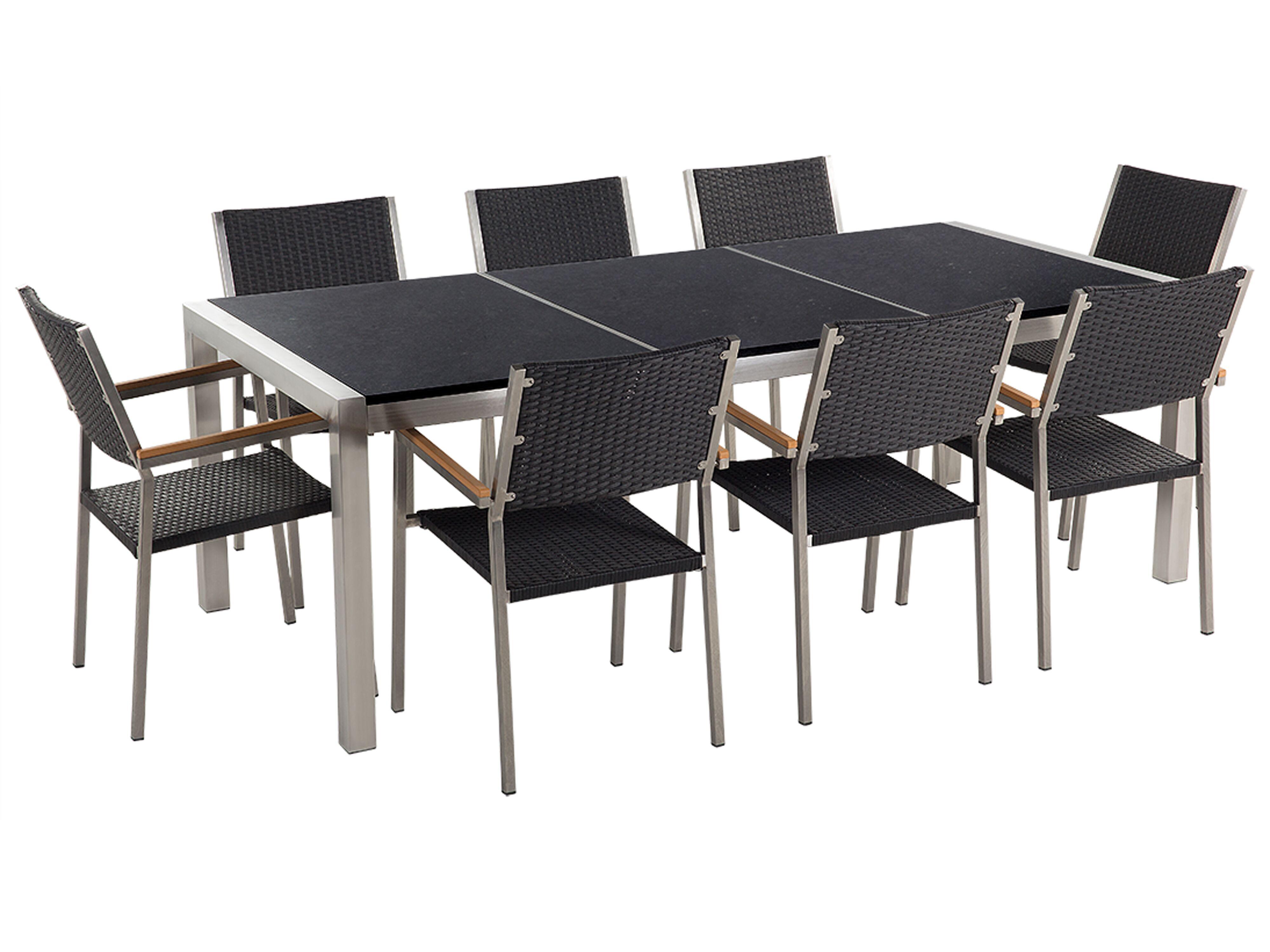 9 Seater Garden Dining Set Black Granite Top and Black Rattan ...