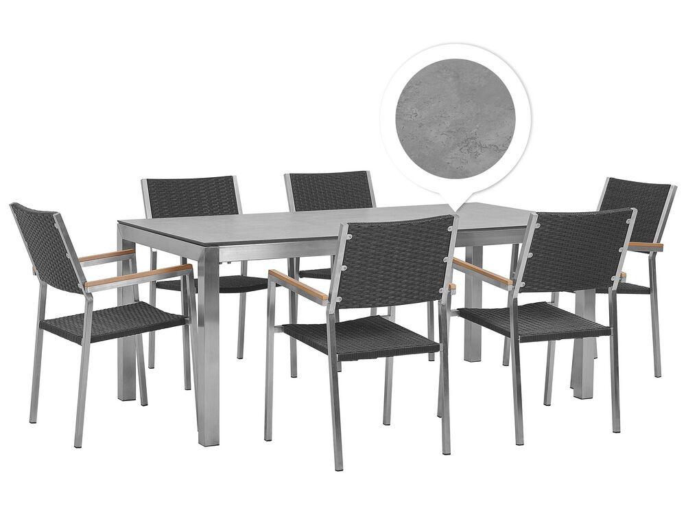 Set Tavolo Da Giardino Effetto Cemento 180 Cm E 6 Sedie Rattan Nero Grosseto Beliani It