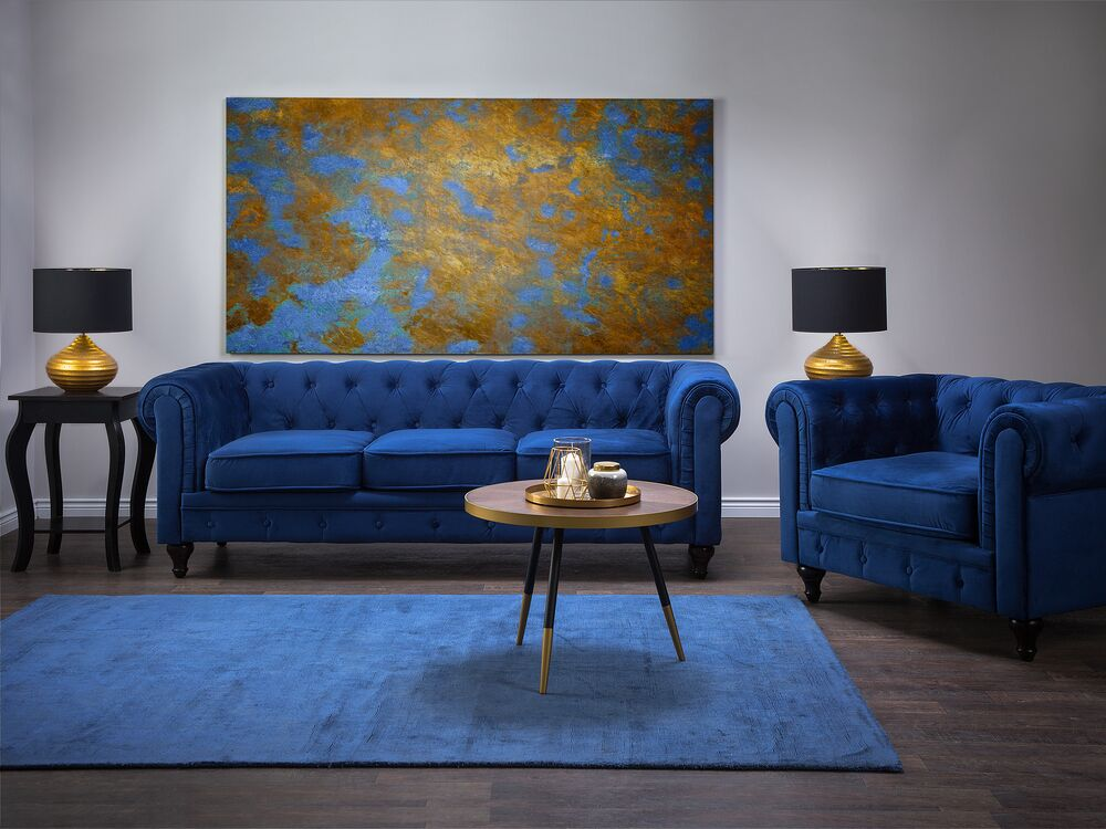 Velvet Living Room Set Blue Chesterfield Ex Factury At Fair Price Right To Return Within 100 Days