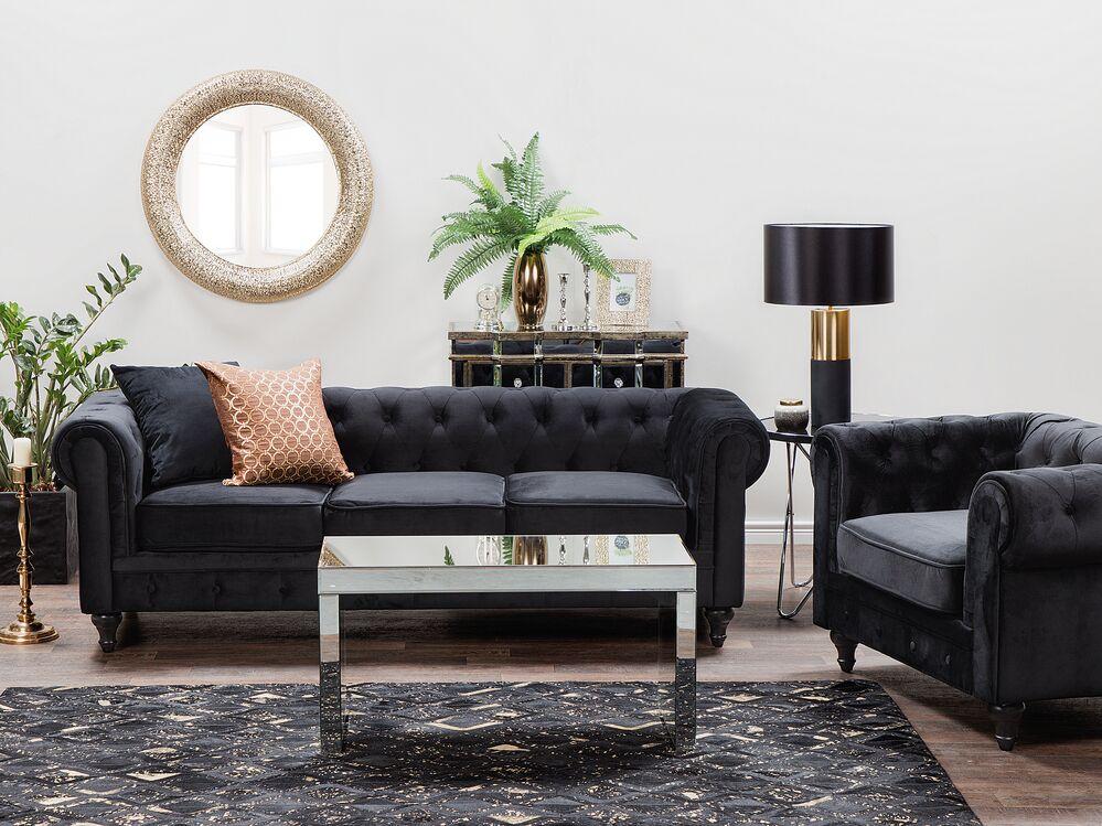 Velvet Living Room Set Black, Black Living Room Set