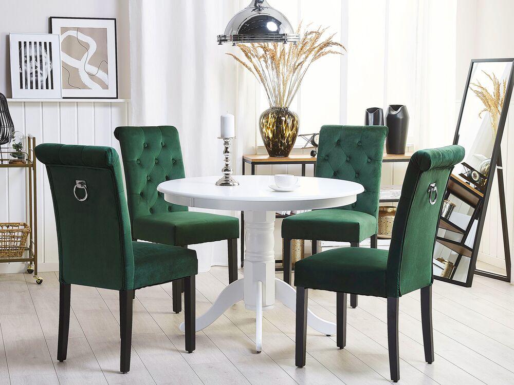 Set Di 2 Sedie Da Pranzo In Velluto Verde Con Anello Velva Ii Beliani It