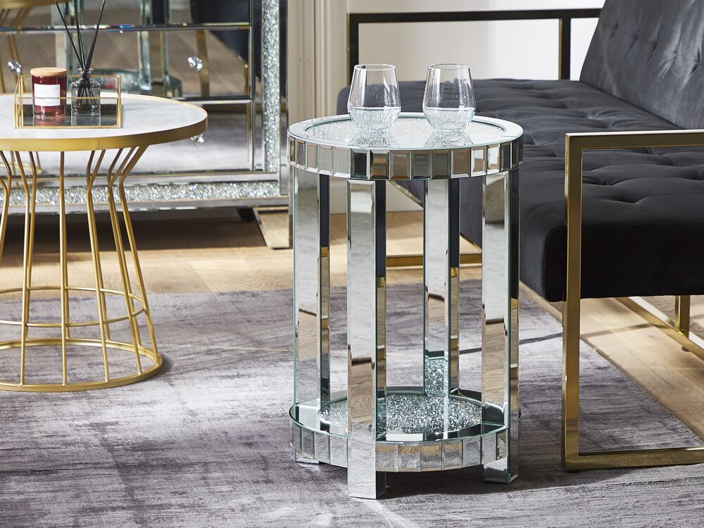 Mirrored Side Table Silver Aprey, Silver Mirror Side Table