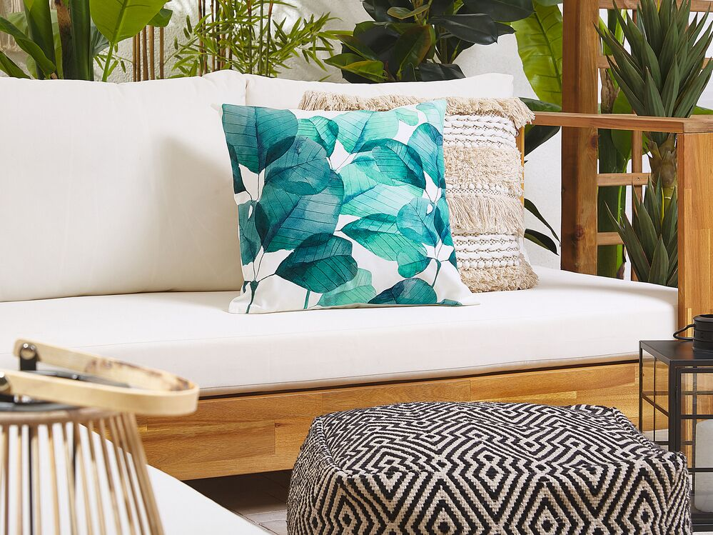Set Of 2 Outdoor Cushions Leaf Motif 45 X 45 Cm Teal Blue And White Trebbo Ex Factury At Fair Price Right To Return Within 100 Days