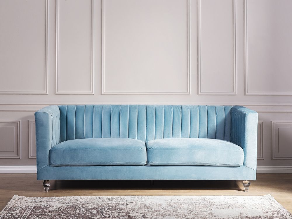 3 Seater Velvet Fabric Sofa Light Blue Arvika Beliani Co Uk