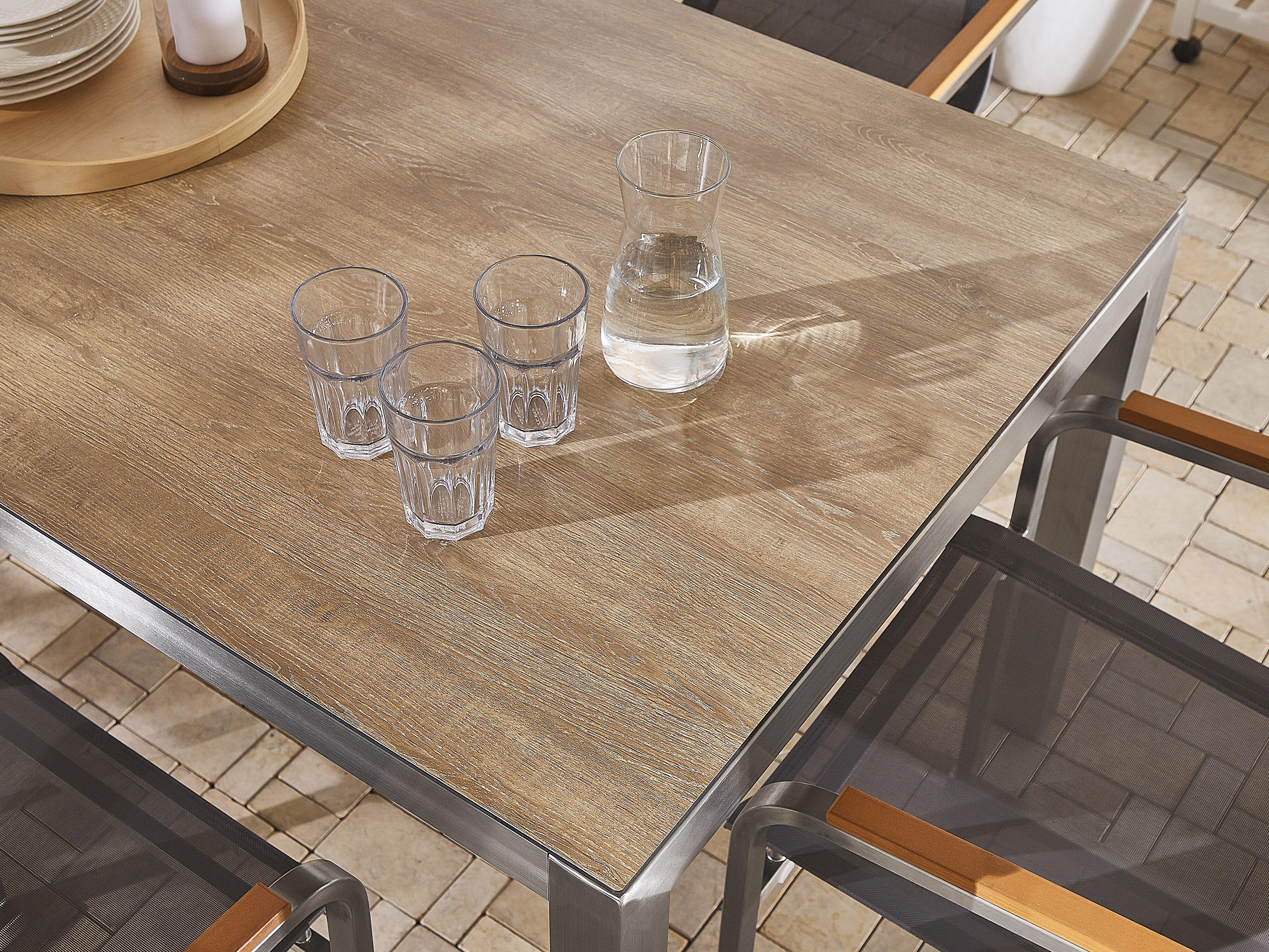 Gartentisch Holzoptik Braun 180 X 90 Cm Grosseto Beliani De