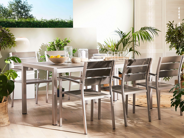 Tavolo Da Giardino In Alluminio Grigio 180 X 90 Cm Vernio Beliani It