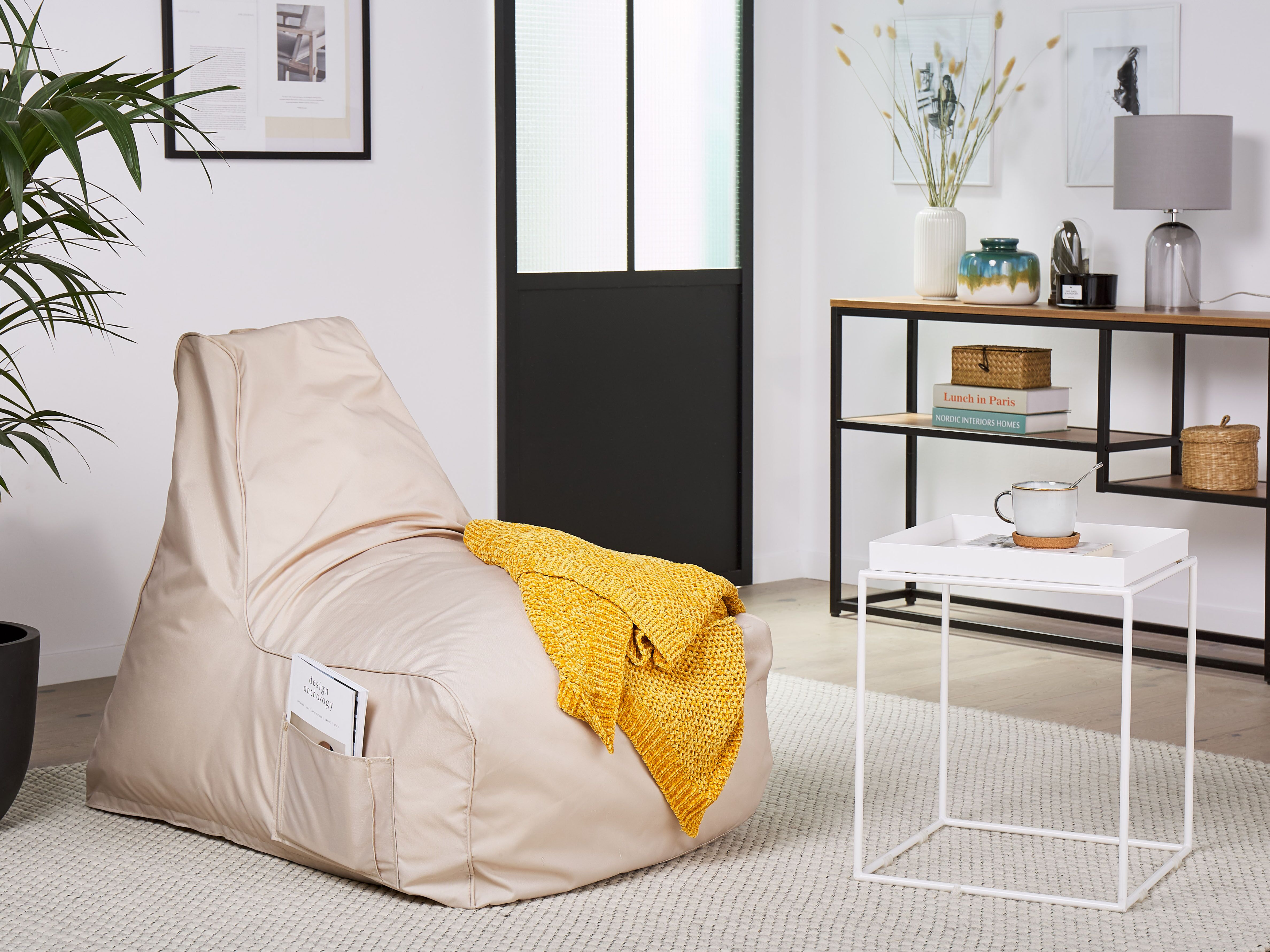 Bean Bag Chair Beige Siesta Beliani De