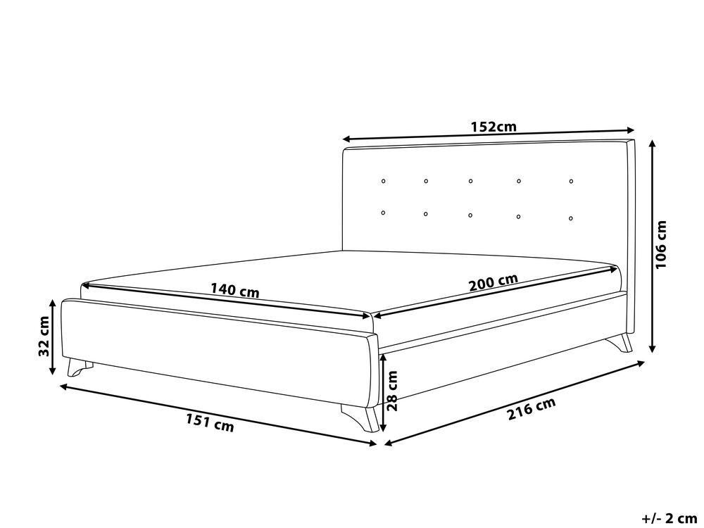 Fabric Eu Double Bed Grey Ambassador, What Size Is A Double Bed In Centimetres