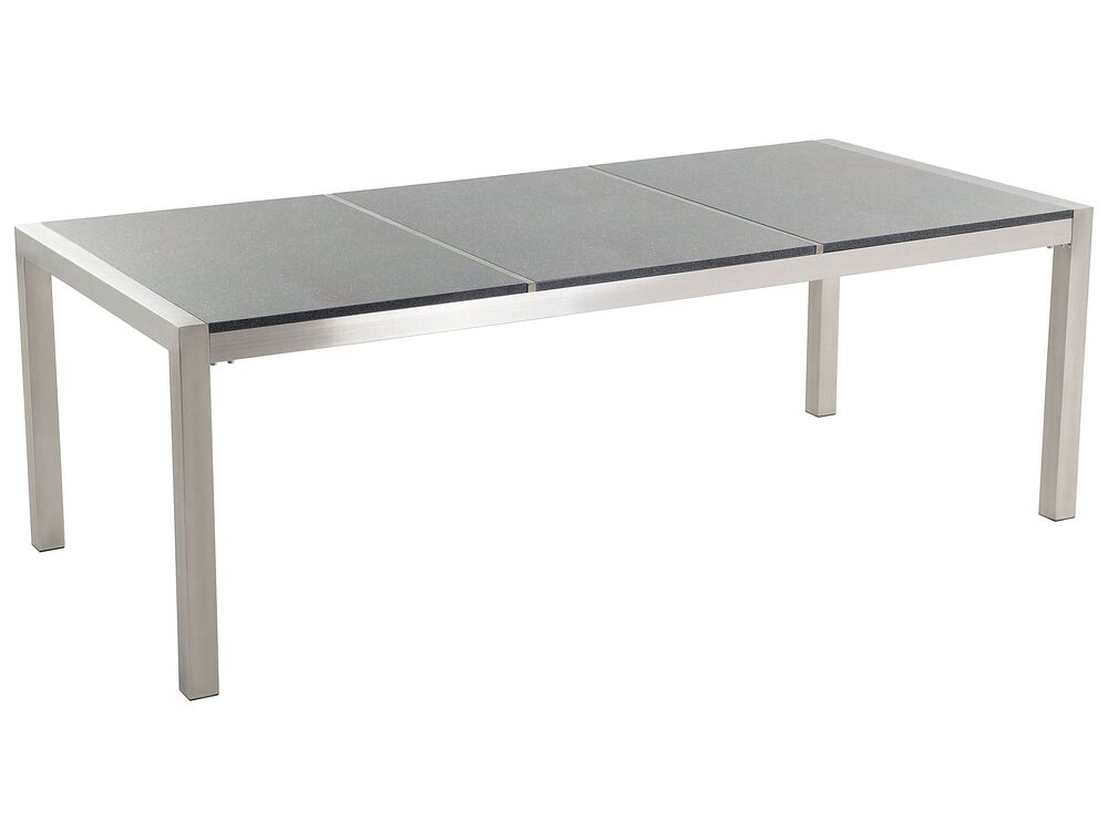 Gartentisch Edelstahl Granit Grau Poliert 220 X 100 Cm Grosseto Beliani De
